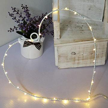 Wankd 35er LED Lichterkranz, Herz, Warmweiß, Batteriebetrieben, Dekorative LED-Lichter aus Eisendraht zum Aufhängen, In-Outdoor Hochzeit Party (1PCS) - 5