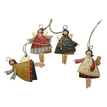 weihnachten engel anhänger - 4 Metall Engel Anhänger Weihnachts dekoration Hängender Schmuck von Innovativen Elchform Socken Schneeflocken für Weihnachtsbaum Fensterschmuck - 3