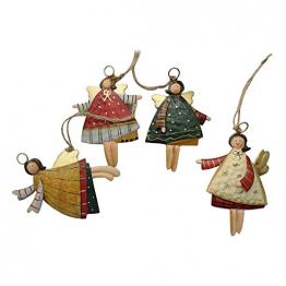 weihnachten engel anhänger - 4 Metall Engel Anhänger Weihnachts dekoration Hängender Schmuck von Innovativen Elchform Socken Schneeflocken für Weihnachtsbaum Fensterschmuck - 1