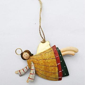 weihnachten engel anhänger - 4 Metall Engel Anhänger Weihnachts dekoration Hängender Schmuck von Innovativen Elchform Socken Schneeflocken für Weihnachtsbaum Fensterschmuck - 8