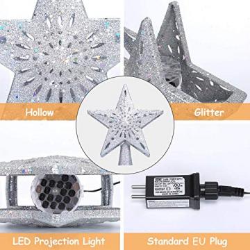 Weihnachtsbaumspitze Stern mit LED Projektion von dynamischen Schneeflocke Lichteffekte, Silber glitzende Christbaumspitze Weihnachtsbaumdeko, Netzteilbetriebene Baumspitze Stern Weihnachtsbaumschmuck - 3