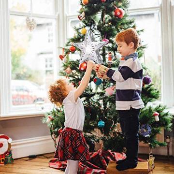 Weihnachtsbaumspitze Stern mit LED Projektion von dynamischen Schneeflocke Lichteffekte, Silber glitzende Christbaumspitze Weihnachtsbaumdeko, Netzteilbetriebene Baumspitze Stern Weihnachtsbaumschmuck - 4