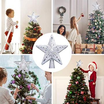 Weihnachtsbaumspitze Stern mit LED Projektion von dynamischen Schneeflocke Lichteffekte, Silber glitzende Christbaumspitze Weihnachtsbaumdeko, Netzteilbetriebene Baumspitze Stern Weihnachtsbaumschmuck - 5