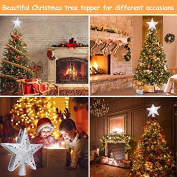 Weihnachtsbaumspitze Stern mit LED Projektion von dynamischen Schneeflocke Lichteffekte, Silber glitzende Christbaumspitze Weihnachtsbaumdeko, Netzteilbetriebene Baumspitze Stern Weihnachtsbaumschmuck - 6
