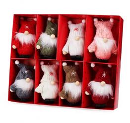 Weihnachtswichtel aus Holz 8-teiliges Set in Geschenkbox, 9 cm Baumanhänger Weihnachtsanhänger, mit Anhänger - Winterkinder als Weihnachtsbaumschmuck, Deko & Geschenk - 1