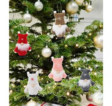 Weihnachtswichtel aus Holz 8-teiliges Set in Geschenkbox, 9 cm Baumanhänger Weihnachtsanhänger, mit Anhänger - Winterkinder als Weihnachtsbaumschmuck, Deko & Geschenk - 6