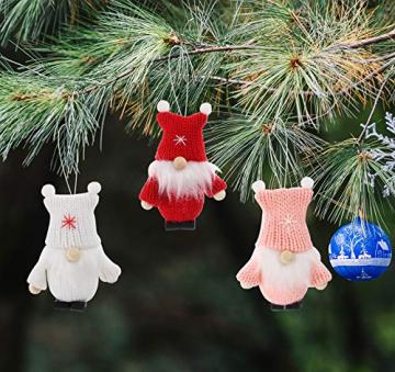 Weihnachtswichtel aus Holz 8-teiliges Set in Geschenkbox, 9 cm Baumanhänger Weihnachtsanhänger, mit Anhänger - Winterkinder als Weihnachtsbaumschmuck, Deko & Geschenk - 7