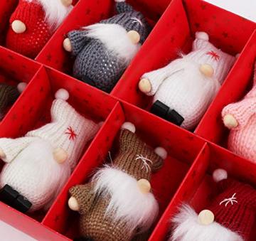 Weihnachtswichtel aus Holz 8-teiliges Set in Geschenkbox, 9 cm Baumanhänger Weihnachtsanhänger, mit Anhänger - Winterkinder als Weihnachtsbaumschmuck, Deko & Geschenk - 8
