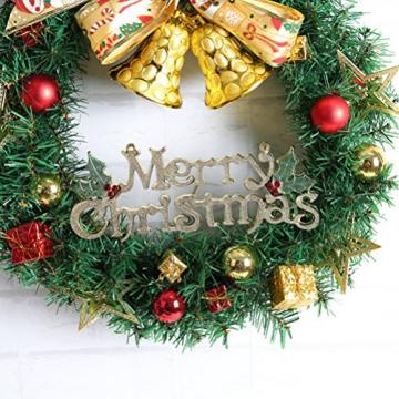 WINOMO Weihnachten Kranz Bowknot Weihnachtskranz Tannenkranz mit kugeln Stern Geschenke Weihnachtsdeko Tür Wand Ornament - 2
