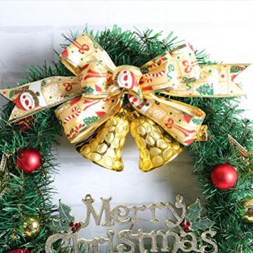 WINOMO Weihnachten Kranz Bowknot Weihnachtskranz Tannenkranz mit kugeln Stern Geschenke Weihnachtsdeko Tür Wand Ornament - 3