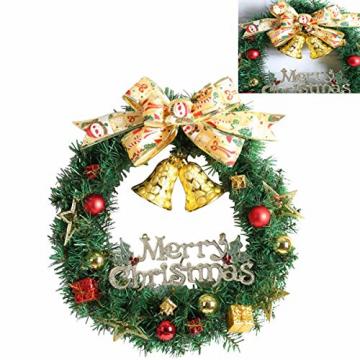 WINOMO Weihnachten Kranz Bowknot Weihnachtskranz Tannenkranz mit kugeln Stern Geschenke Weihnachtsdeko Tür Wand Ornament - 4