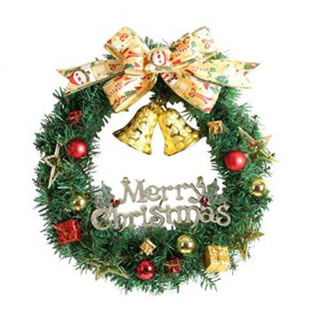 WINOMO Weihnachten Kranz Bowknot Weihnachtskranz Tannenkranz mit kugeln Stern Geschenke Weihnachtsdeko Tür Wand Ornament - 1
