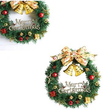 WINOMO Weihnachten Kranz Bowknot Weihnachtskranz Tannenkranz mit kugeln Stern Geschenke Weihnachtsdeko Tür Wand Ornament - 5