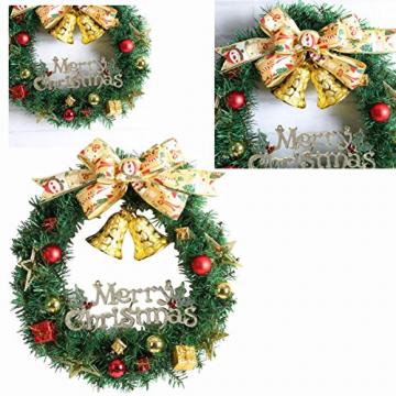 WINOMO Weihnachten Kranz Bowknot Weihnachtskranz Tannenkranz mit kugeln Stern Geschenke Weihnachtsdeko Tür Wand Ornament - 6