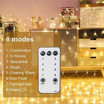 WOWDSGN 200 LED Lichternetz 3 x 2 m warmweiß Lichterkette Netz mit Fernbedienung Trafo Timer 8 Modi Lichtketten für Weihnachten, Halloween, Party, Geburstag, Hochzeit Geeignet für Innen und Außen - 4