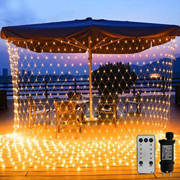 WOWDSGN 200 LED Lichternetz 3 x 2 m warmweiß Lichterkette Netz mit Fernbedienung Trafo Timer 8 Modi Lichtketten für Weihnachten, Halloween, Party, Geburstag, Hochzeit Geeignet für Innen und Außen - 1