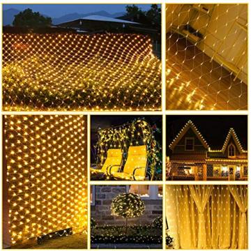 WOWDSGN 200 LED Lichternetz 3 x 2 m warmweiß Lichterkette Netz mit Fernbedienung Trafo Timer 8 Modi Lichtketten für Weihnachten, Halloween, Party, Geburstag, Hochzeit Geeignet für Innen und Außen - 5
