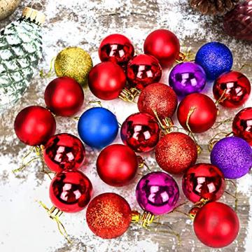 Yisscen Weihnachtskugeln Baumschmuck, Christbaumkugeln, Dekokugeln Weihnachten, Matt Glänzend Glitzernd Dekokugeln, Baumkugeln für Weihnachten Hochzeitsfest Dekoration, 24 Stück (Silber) - 3