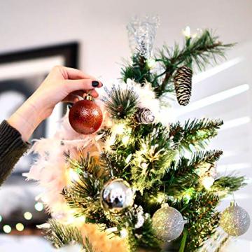 Yisscen Weihnachtskugeln Baumschmuck, Christbaumkugeln, Dekokugeln Weihnachten, Matt Glänzend Glitzernd Dekokugeln, Baumkugeln für Weihnachten Hochzeitsfest Dekoration, 24 Stück (Silber) - 4