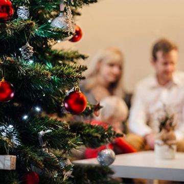 Yisscen Weihnachtskugeln Baumschmuck, Christbaumkugeln, Dekokugeln Weihnachten, Matt Glänzend Glitzernd Dekokugeln, Baumkugeln für Weihnachten Hochzeitsfest Dekoration, 24 Stück (Silber) - 5