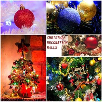 Yisscen Weihnachtskugeln Baumschmuck, Christbaumkugeln, Dekokugeln Weihnachten, Matt Glänzend Glitzernd Dekokugeln, Baumkugeln für Weihnachten Hochzeitsfest Dekoration, 24 Stück (Silber) - 6