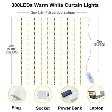 Yizhet Lichtervorhang 3x3m LED Lichterkette LED Lichterkettenvorhang mit 8 Modi, 300LEDs, IP65 Wasserdicht Deko für Weihnachten, Partydekoration, Innenbeleuchtung (Warm White) - 2