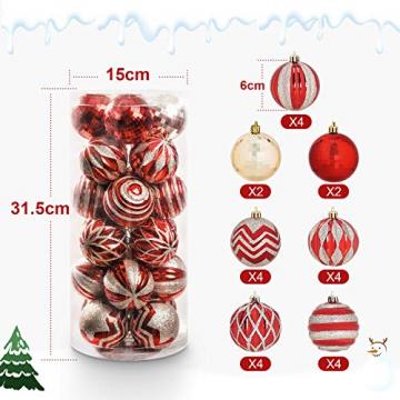 Yorbay Weihnachtskugeln 24er Set Christbaumkugeln 6cm aus Kunststoff in Rot und Hellgold mit Aufhänger, Weihnachtsdeko für Weihnachten, Weihnachtsbaum, Tannenbaum, Christmasbaum(Mehrweg) - 2