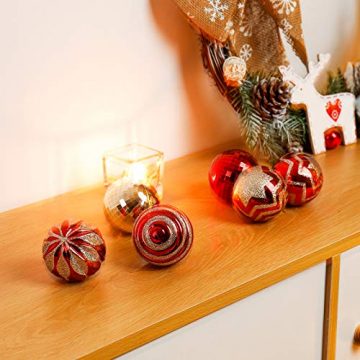 Yorbay Weihnachtskugeln 24er Set Christbaumkugeln 6cm aus Kunststoff in Rot und Hellgold mit Aufhänger, Weihnachtsdeko für Weihnachten, Weihnachtsbaum, Tannenbaum, Christmasbaum(Mehrweg) - 3