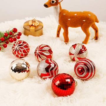 Yorbay Weihnachtskugeln 24er Set Christbaumkugeln 6cm aus Kunststoff in Rot und Hellgold mit Aufhänger, Weihnachtsdeko für Weihnachten, Weihnachtsbaum, Tannenbaum, Christmasbaum(Mehrweg) - 4