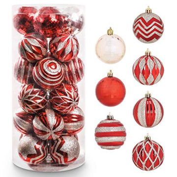 Yorbay Weihnachtskugeln 24er Set Christbaumkugeln 6cm aus Kunststoff in Rot und Hellgold mit Aufhänger, Weihnachtsdeko für Weihnachten, Weihnachtsbaum, Tannenbaum, Christmasbaum(Mehrweg) - 1