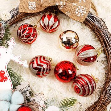 Yorbay Weihnachtskugeln 24er Set Christbaumkugeln 6cm aus Kunststoff in Rot und Hellgold mit Aufhänger, Weihnachtsdeko für Weihnachten, Weihnachtsbaum, Tannenbaum, Christmasbaum(Mehrweg) - 5