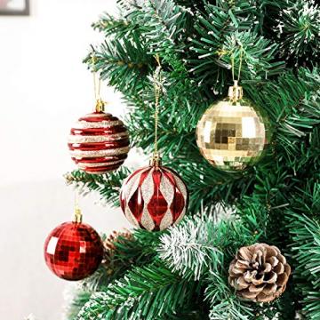 Yorbay Weihnachtskugeln 24er Set Christbaumkugeln 6cm aus Kunststoff in Rot und Hellgold mit Aufhänger, Weihnachtsdeko für Weihnachten, Weihnachtsbaum, Tannenbaum, Christmasbaum(Mehrweg) - 6