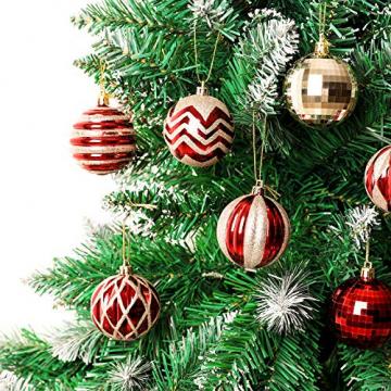Yorbay Weihnachtskugeln 24er Set Christbaumkugeln 6cm aus Kunststoff in Rot und Hellgold mit Aufhänger, Weihnachtsdeko für Weihnachten, Weihnachtsbaum, Tannenbaum, Christmasbaum(Mehrweg) - 7