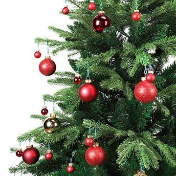 Yorbay Weihnachtskugeln 44er Set Christbaumkugeln aus Glas mit Aufhänger, Weihnachtsdeko für Weihnachten, Weihnachtsbaum, Tannenbaum, Christmasbaum(Mehrweg) (Rot+Gold) - 4
