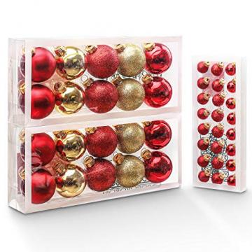 Yorbay Weihnachtskugeln 44er Set Christbaumkugeln aus Glas mit Aufhänger, Weihnachtsdeko für Weihnachten, Weihnachtsbaum, Tannenbaum, Christmasbaum(Mehrweg) (Rot+Gold) - 1