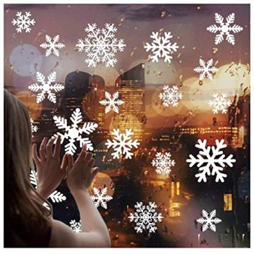 Yuson Girl 108 Stk Schneeflocken Fensterbild Abnehmbare Weihnachten Aufkleber Fenster Weihnachten Deko Wandtattoo Weihnachten Statisch Haftende PVC Aufkleber - 2