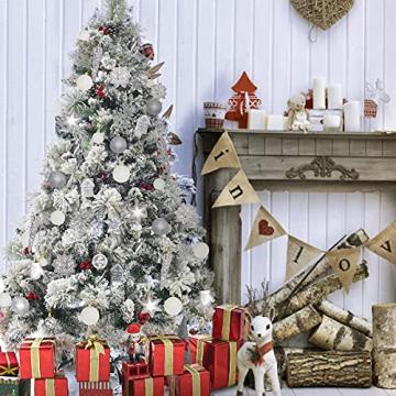 113 Stück Christbaumkugeln Set Weihnachtskugeln aus Kunststoff Silbrig und Weiß Baumschmuck Weihnachtsbaum Deko & Christbaumschmuck in unterschiedlichen Größen und Designs Silber und Weiß - 3