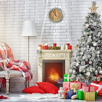 113 Stück Christbaumkugeln Set Weihnachtskugeln aus Kunststoff Silbrig und Weiß Baumschmuck Weihnachtsbaum Deko & Christbaumschmuck in unterschiedlichen Größen und Designs Silber und Weiß - 4