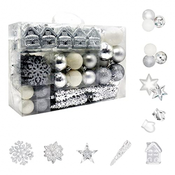 113 Stück Christbaumkugeln Set Weihnachtskugeln aus Kunststoff Silbrig und Weiß Baumschmuck Weihnachtsbaum Deko & Christbaumschmuck in unterschiedlichen Größen und Designs Silber und Weiß - 1