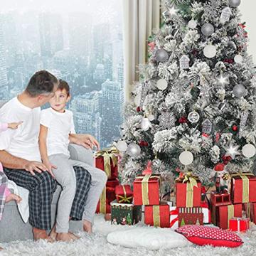 113 Stück Christbaumkugeln Set Weihnachtskugeln aus Kunststoff Silbrig und Weiß Baumschmuck Weihnachtsbaum Deko & Christbaumschmuck in unterschiedlichen Größen und Designs Silber und Weiß - 5