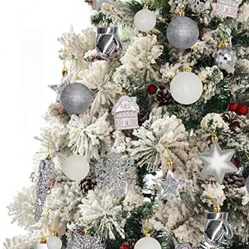 113 Stück Christbaumkugeln Set Weihnachtskugeln aus Kunststoff Silbrig und Weiß Baumschmuck Weihnachtsbaum Deko & Christbaumschmuck in unterschiedlichen Größen und Designs Silber und Weiß - 6