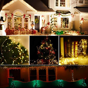 [2 Stücke] Usboo® Solar Lichterkette, 150 warmweiße LEDs 15 Meter für Außen& Innen mit wasserdichten Kupferdrähten für Dekorationen, Feste, Garten, Balkons, Partys, Hochzeiten, Camping, DIY usw. - 3