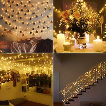 [2 Stücke] Usboo® Solar Lichterkette, 150 warmweiße LEDs 15 Meter für Außen& Innen mit wasserdichten Kupferdrähten für Dekorationen, Feste, Garten, Balkons, Partys, Hochzeiten, Camping, DIY usw. - 6