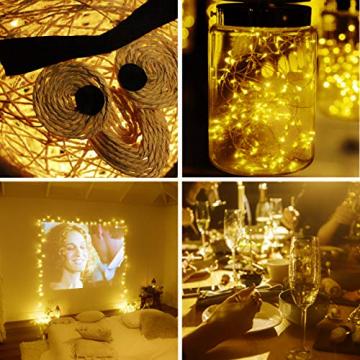 [2 Stücke] Usboo® Solar Lichterkette, 150 warmweiße LEDs 15 Meter für Außen& Innen mit wasserdichten Kupferdrähten für Dekorationen, Feste, Garten, Balkons, Partys, Hochzeiten, Camping, DIY usw. - 8