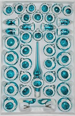 39 TLG. Glas-Weihnachtskugeln Set in Hochglanz Vintage Türkis - Christbaumkugeln - Weihnachtsschmuck-Christbaumschmuck-Reflektorkugeln-Reflexkugeln-Reflector Ball NEU - 1