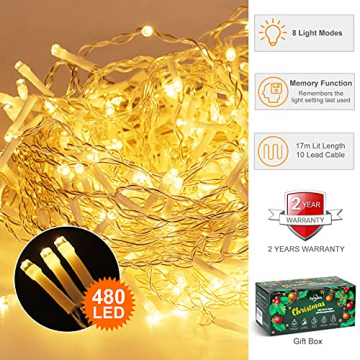 [480 LED] Lichterkette, 17M 8 Modi Lichterkette Außen Strom Weihnachtsbeleuchtung Wasserdicht Außen/Innen LED Lichterkette mit Memory-Funktion für Garten Balkon Weihnachtsbeleuchtung Außen, Warmweiß - 2