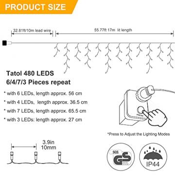 [480 LED] Lichterkette, 17M 8 Modi Lichterkette Außen Strom Weihnachtsbeleuchtung Wasserdicht Außen/Innen LED Lichterkette mit Memory-Funktion für Garten Balkon Weihnachtsbeleuchtung Außen, Warmweiß - 4