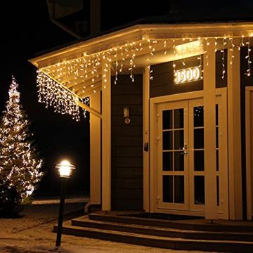 [480 LED] Lichterkette, 17M 8 Modi Lichterkette Außen Strom Weihnachtsbeleuchtung Wasserdicht Außen/Innen LED Lichterkette mit Memory-Funktion für Garten Balkon Weihnachtsbeleuchtung Außen, Warmweiß - 1