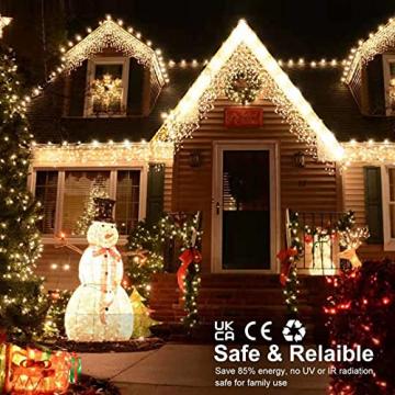 [480 LED] Lichterkette, 17M 8 Modi Lichterkette Außen Strom Weihnachtsbeleuchtung Wasserdicht Außen/Innen LED Lichterkette mit Memory-Funktion für Garten Balkon Weihnachtsbeleuchtung Außen, Warmweiß - 5