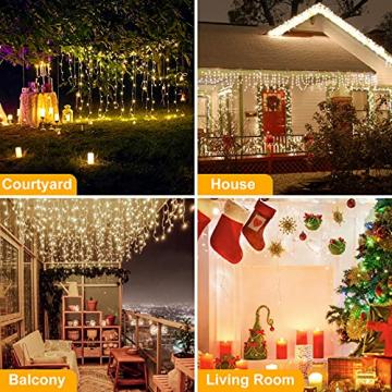 [480 LED] Lichterkette, 17M 8 Modi Lichterkette Außen Strom Weihnachtsbeleuchtung Wasserdicht Außen/Innen LED Lichterkette mit Memory-Funktion für Garten Balkon Weihnachtsbeleuchtung Außen, Warmweiß - 6